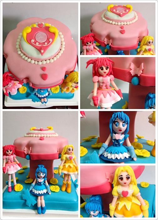 给干女儿做的芭拉拉小魔仙翻糖蛋糕。整个都是