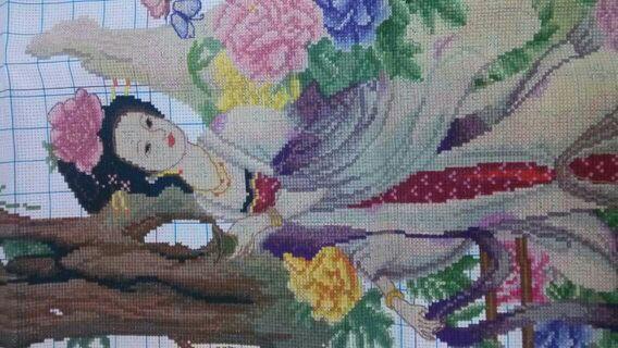 古代四大素描图十字绣成品貂蝉西施美女昭君头像唯美贵妃美女图片