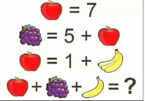 幼儿香焦加苹果的算术题目_苹果香蕉椰子的算术题_三个苹果两个香蕉椰子