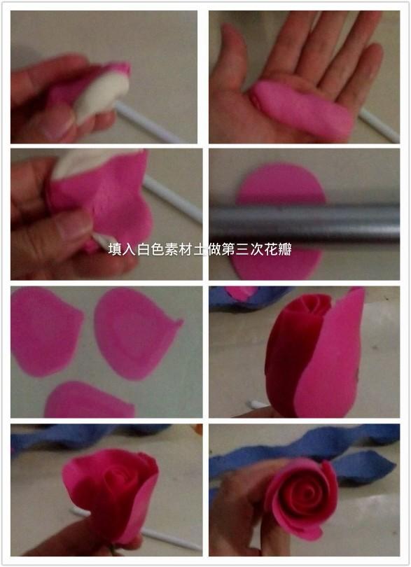 玫瑰花粘土作品教程图解_