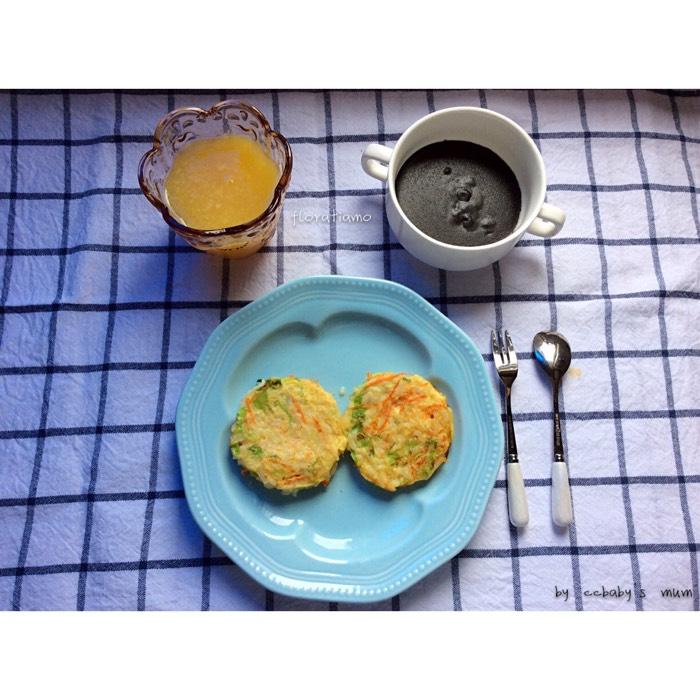 【宸宝早餐13】时蔬银鱼煎米饼自制黑芝麻糊