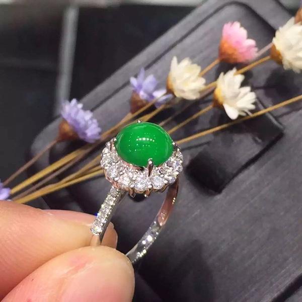 老坑帝皇绿完美戒指!好货不多形容[色]小5位_珠