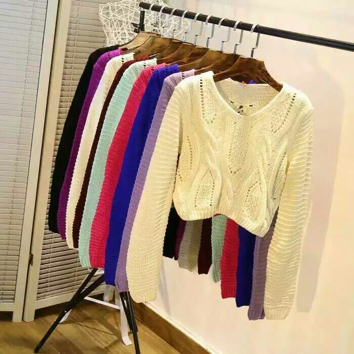 女性感露脐毛衣照片高腰短款针织衫均码_服饰沙滩排球绑带或生性感死图片