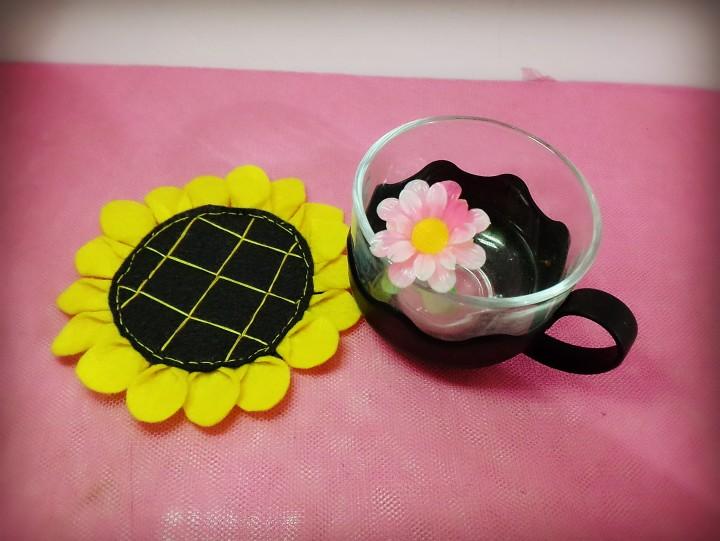 为花钟情|有了不织布向日葵杯垫,每天都是好心单层防漏随手杯