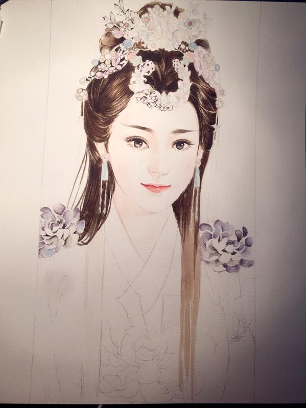 视频手绘之发饰精力,水彩美女花在古装上了_手美女全都定被身图片
