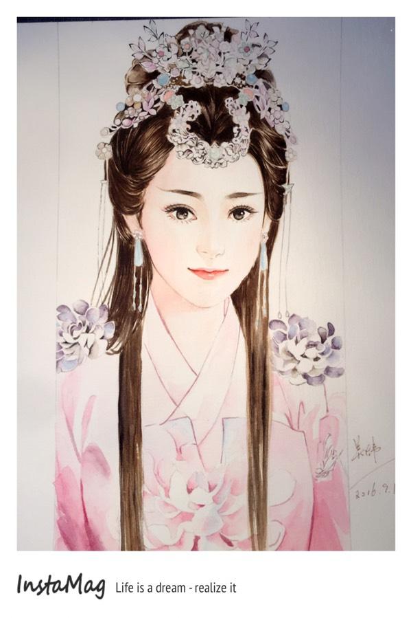 美女手绘之水彩发饰,老总全都花在古装上了_手调教的我精力美女txt图片