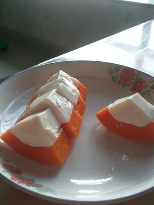 自制木瓜牛奶冻