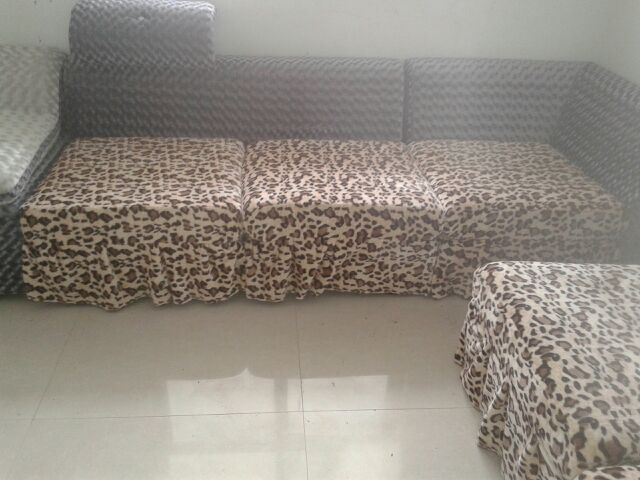 豹纹沙发套完工啦!