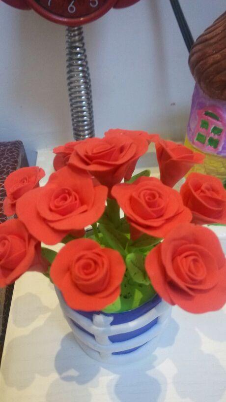 【超轻粘土】小巧惹人爱的玫瑰花盆(附过程)