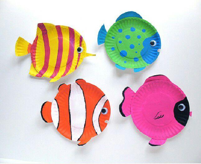 幼儿园手工——可爱纸盘鱼