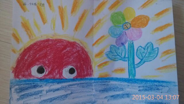 蜡笔画,彩虹色的花儿 未完成