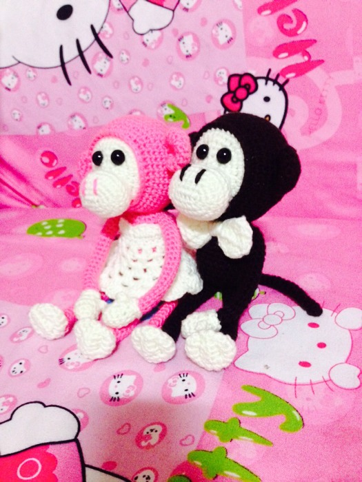【妮妮妈钩针】迷你版情侣长臂猴,一对对才美.(图解参考长臂猴先生)
