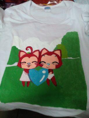 超可爱阿狸桃子手绘t恤!