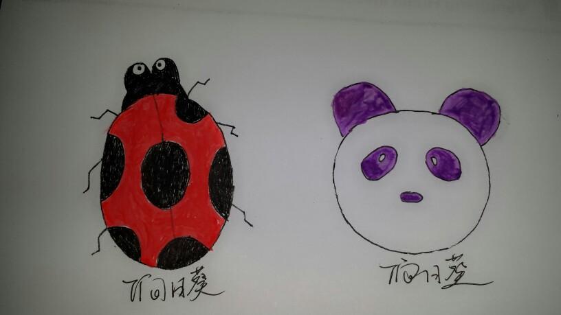 简笔画瓢虫——紫色熊猫