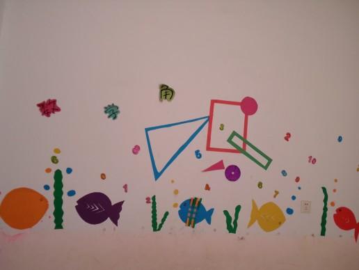 外面还有一面墙没有完成,因为墙面不平,所以贴不稳,园长去买胶了 上面的是白色卡纸上面贴字,字是打印出来涂的色,还有是蝴蝶做的装饰  下面的小花是两个扇子拼在一起的!  还没有完成,还有小草,蜻蜓,蝴蝶,白云没有贴呢~~~还要继续努力