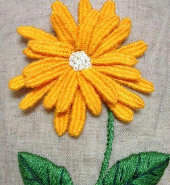 简单版手工刺绣之立体太阳花,赶快来学学吧图片