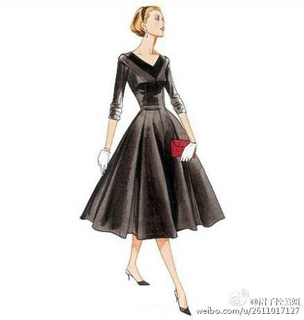 优雅的复古长裙插画 每一款都美好到爆