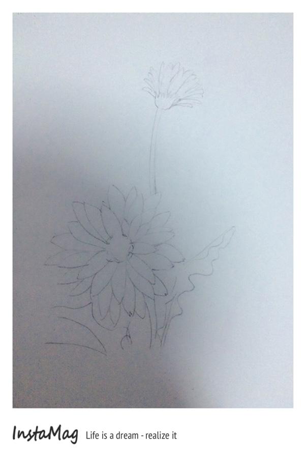 偷用了下女儿的手指画颜料 画朵花花小清新下