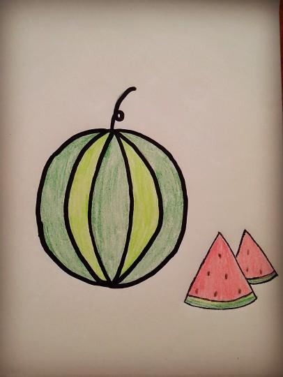 又到吃西瓜的季节了,先和宝宝用画笔画个大西瓜来解解馋