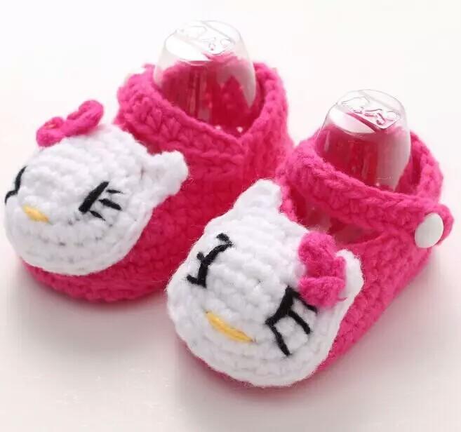 手工编织卡通儿童手针织鞋子