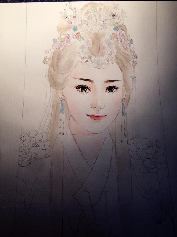 水彩手绘~古装美女图片