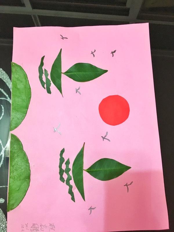 亲子手工:树叶粘贴画—扬帆起航