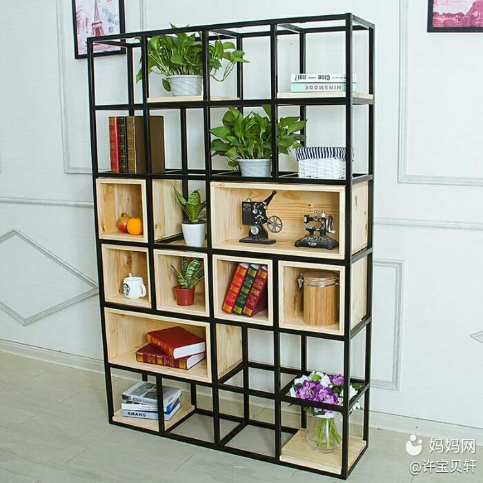 风铁艺隔断屏风办公室玄关置物架创意实木书架展示架,使用$铁艺实