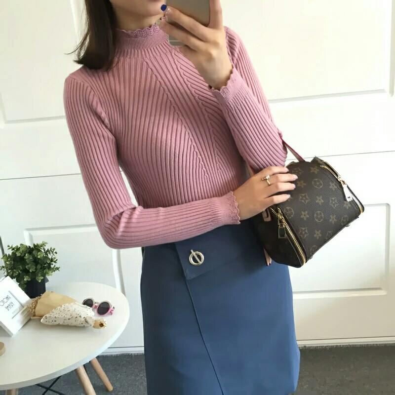 秋冬新款女装韩版花边半高领套头毛衣女修身加厚长袖