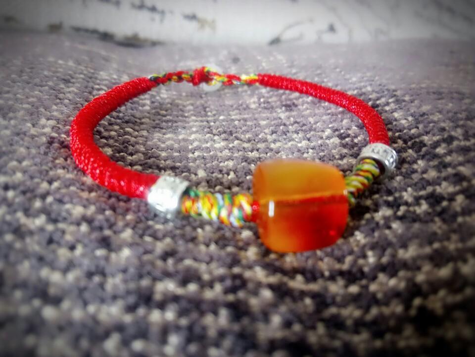 手工编绳天然乌克兰蜜蜡琥珀红绳