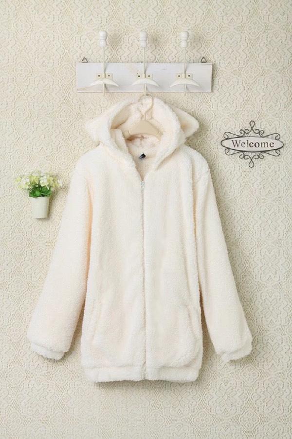 转可爱毛绒外套带兔子耳朵 尾巴
