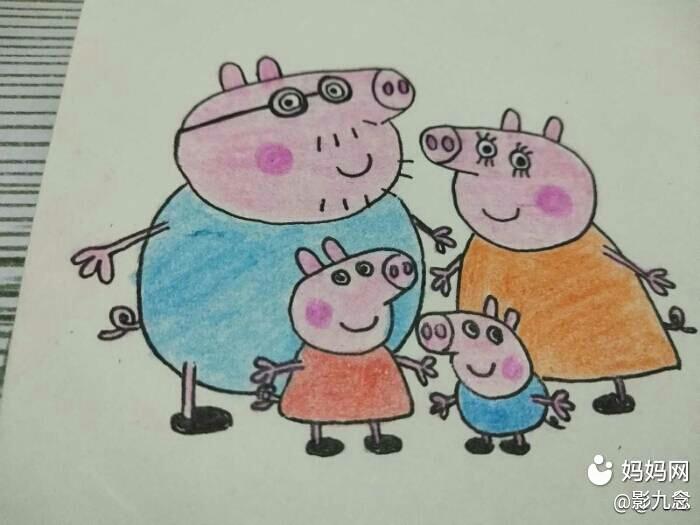 手绘温馨有爱的小猪佩奇一家.图片